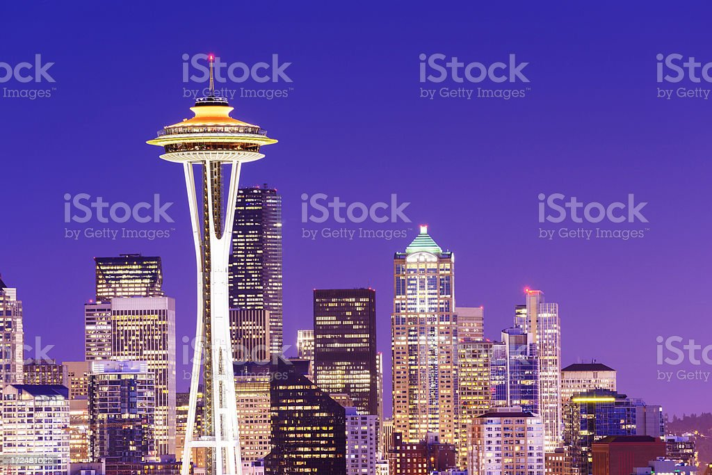 Seattle City Skyline at Night USA royalty-free stock photo