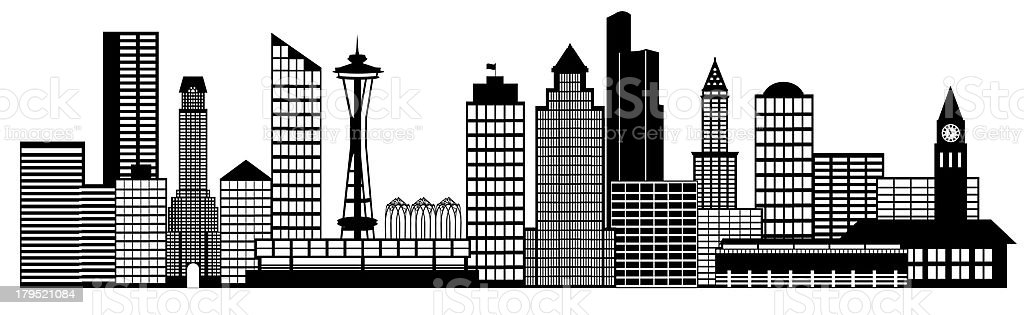 Seattle City Skyline Panorama Clip Art royalty-free stock photo
