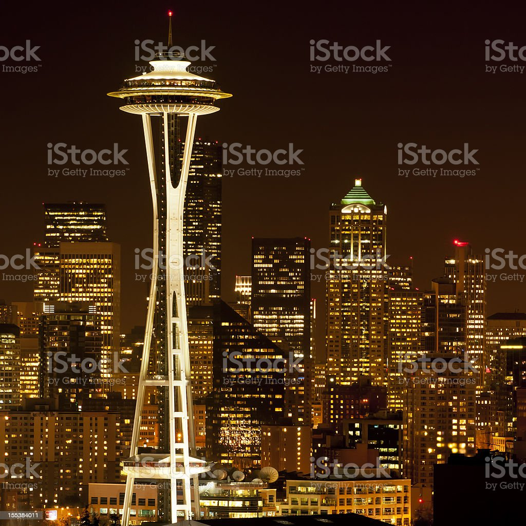 Seattle cityscape by night - IV royalty-free stock photo