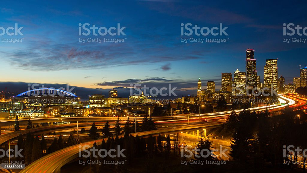 Seattle Cityscape in the Evening royalty-free stock photo