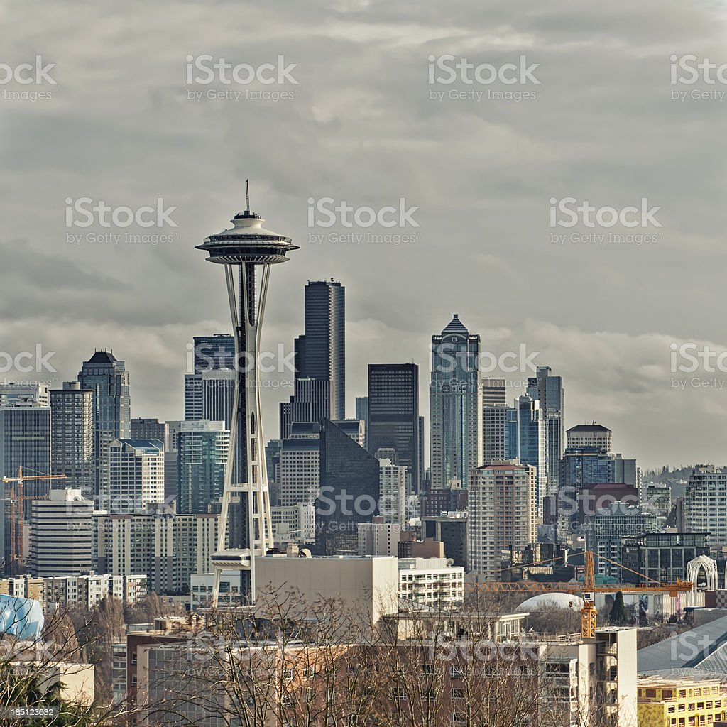 Seattle cityscape on a cloudy day stock photo
