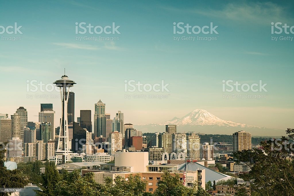 Seattle Cityscape with Mt. Rainier stock photo