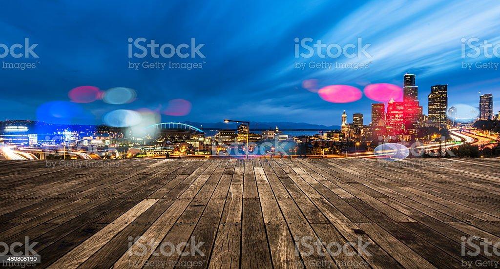Seattle Commute. The Seattle, Washington skyline at night stock photo