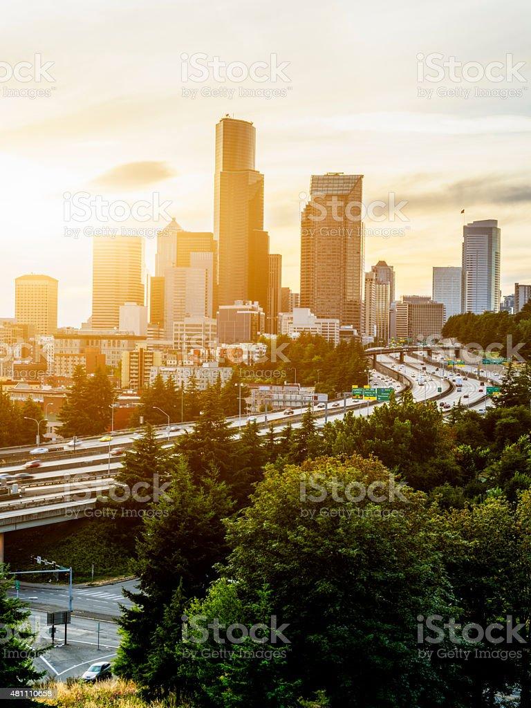 Seattle Commute. The Seattle, Washington skyline at sunset stock photo