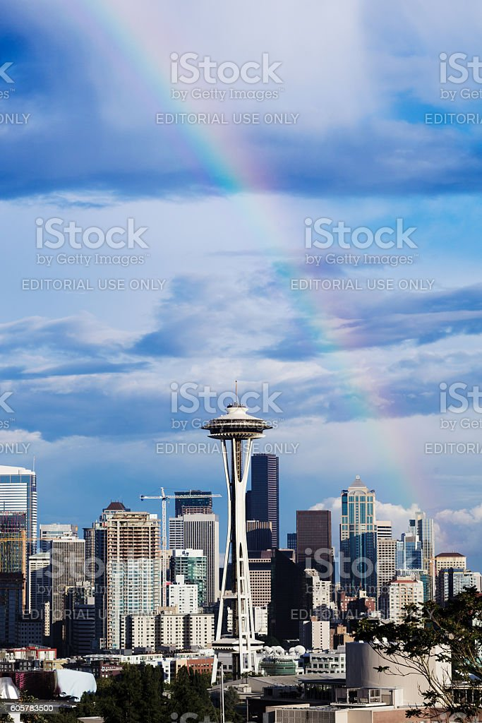 Seattle Daytime with the Space Needle and rainbow stock photo