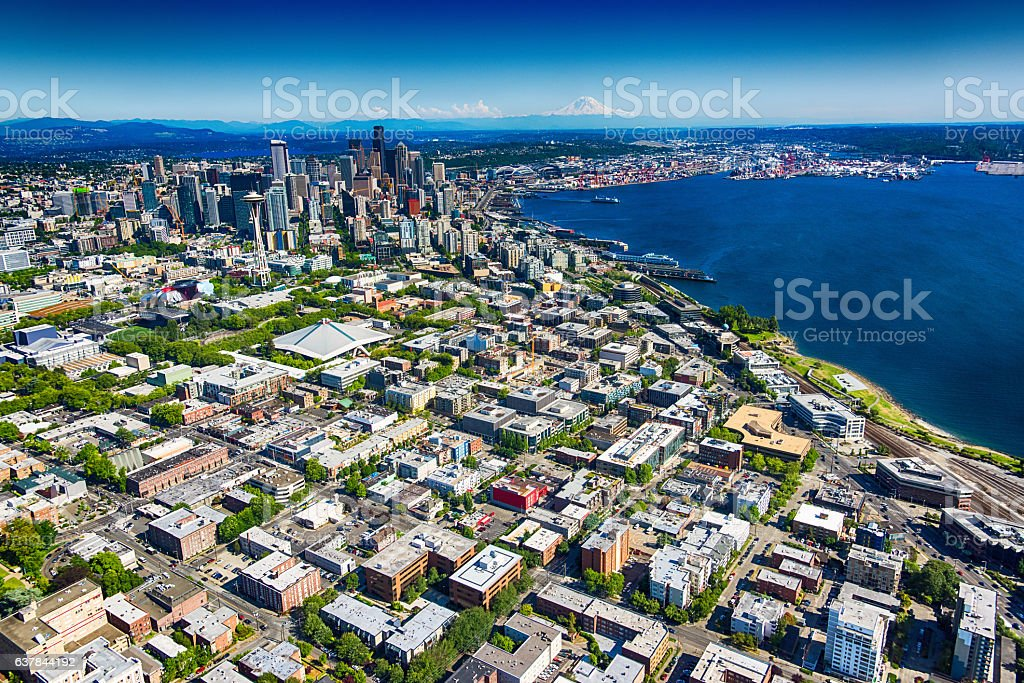Seattle Downtown and Metro Area Wide Angle Aerial View stock photo