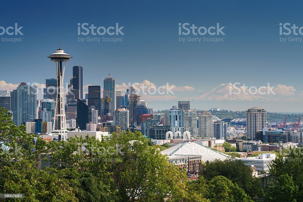 Seattle Downtown and Mt.Rainier in Clouds royalty-free stock photo