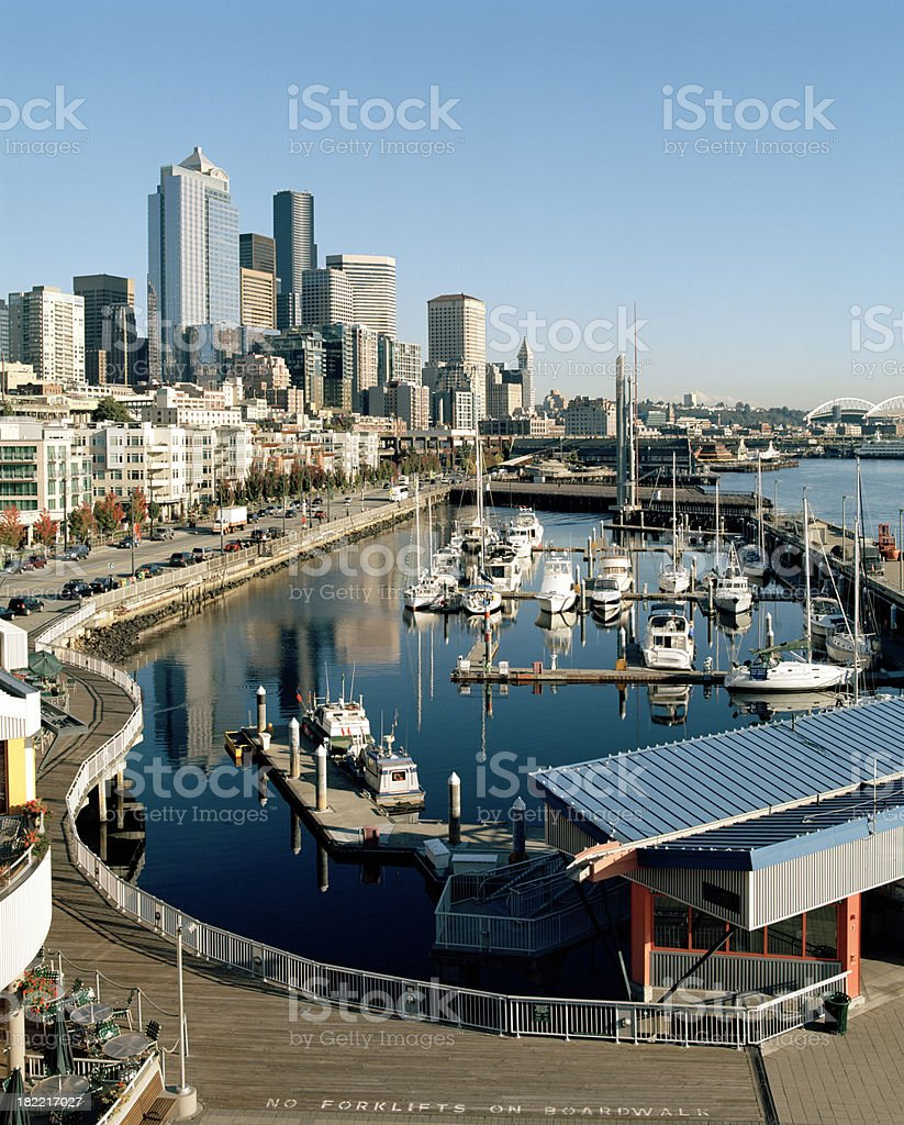 Seattle Downtown and Waterfront at Bell Harbor royalty-free stock photo