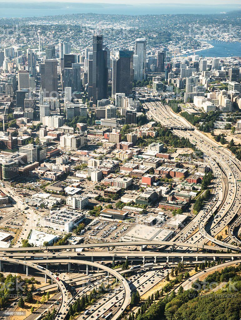 Seattle downtown area from the helicopter stock photo