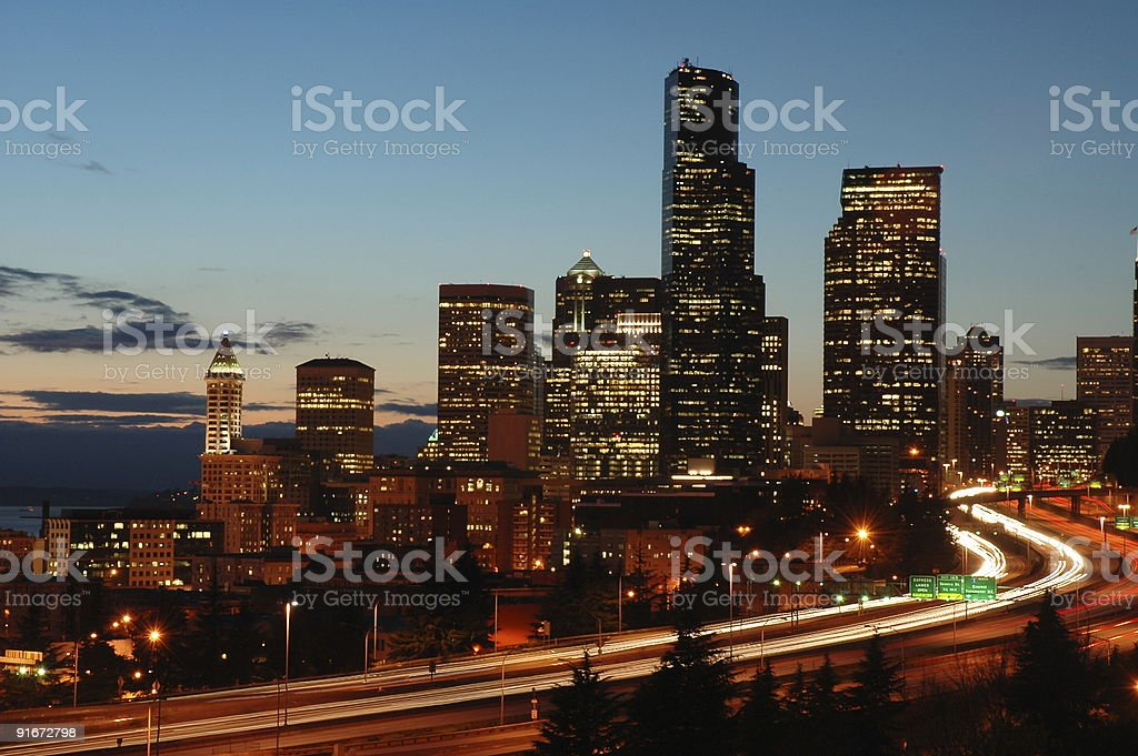 Seattle Downtown at Night royalty-free stock photo