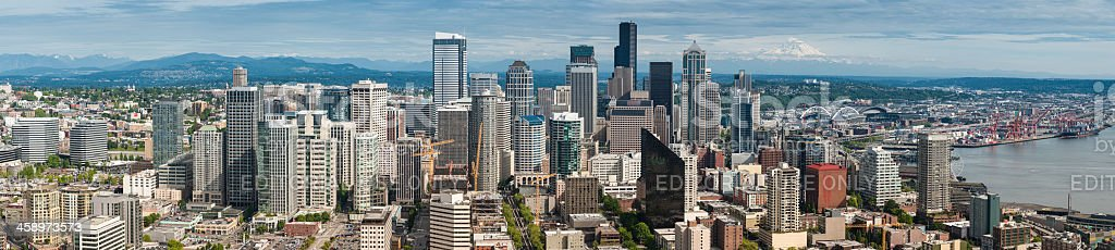 Seattle downtown cityscape panorama Washington stock photo
