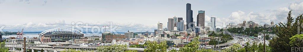 Seattle downtown freeways skyscrapers stadiums panorama stock photo