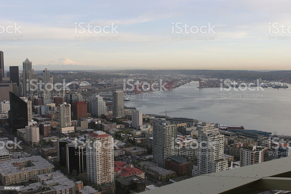 Seattle downtown, harbor, Mount Raineer viewed from the Space Needle royalty-free stock photo