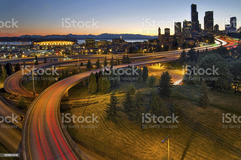 Seattle Downtown Highway Traffic Light Trails royalty-free stock photo