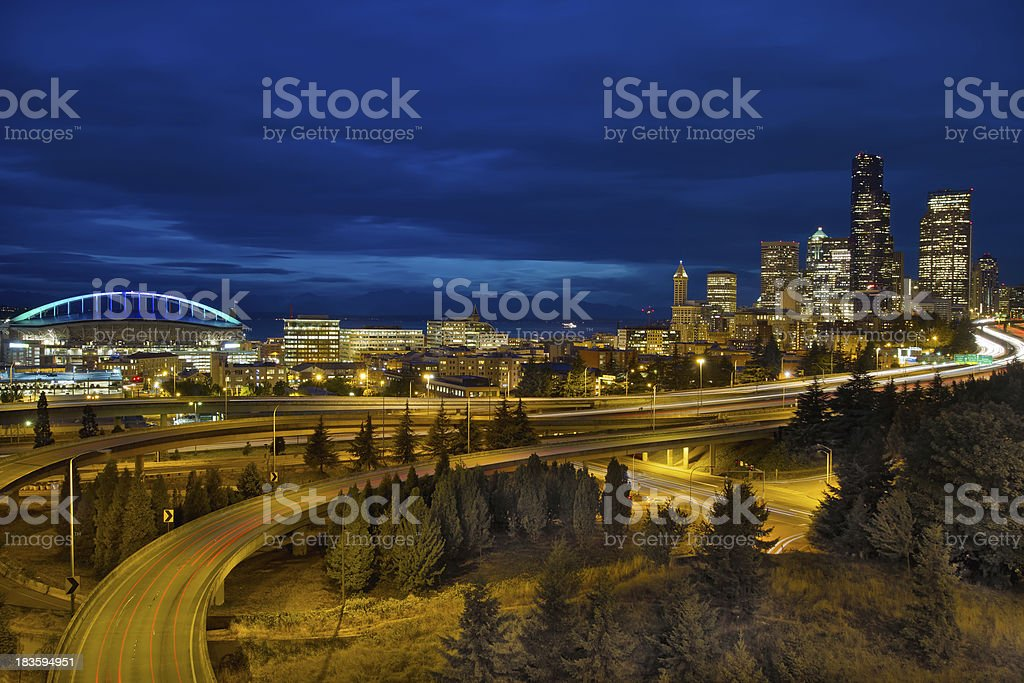 Seattle Downtown Skyline and Freeway at Twilight stock photo