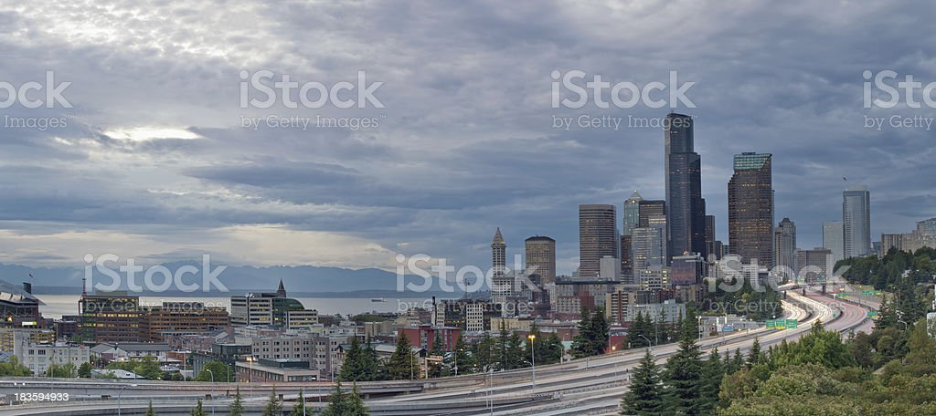Seattle Downtown Skyline and Freeway Panorama royalty-free stock photo