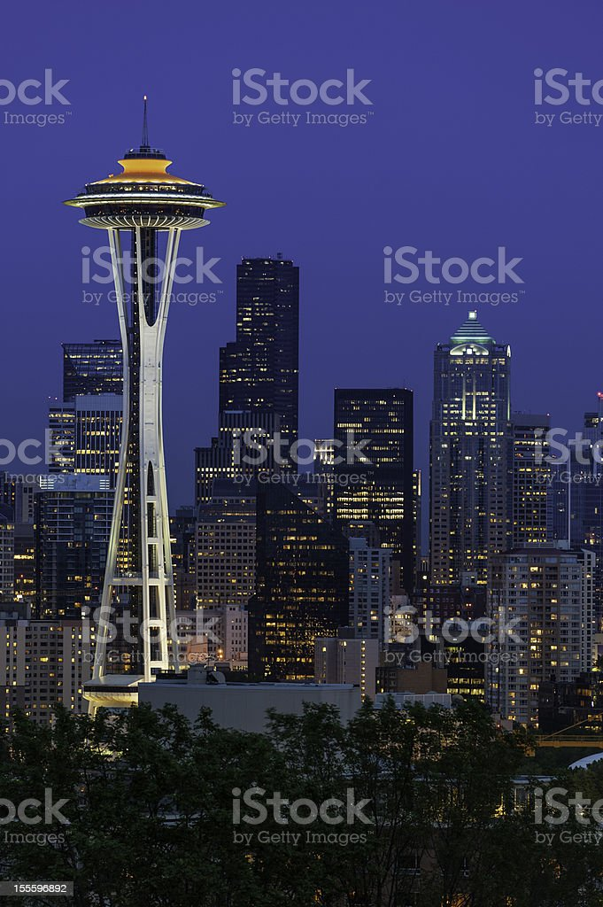 Seattle downtown skyline illuminated at night royalty-free stock photo