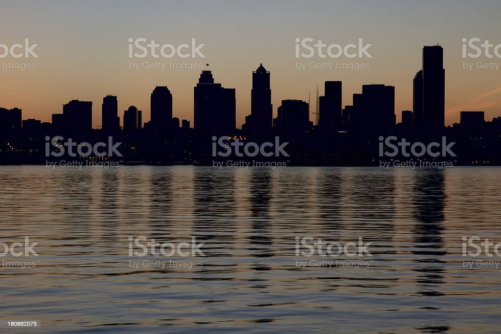 Seattle Downtown Skyline Silhouette royalty-free stock photo