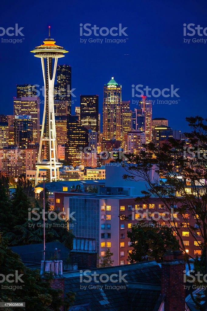 Seattle downtown skyline skyscrapers Space Needle illuminated at dusk Washington stock photo
