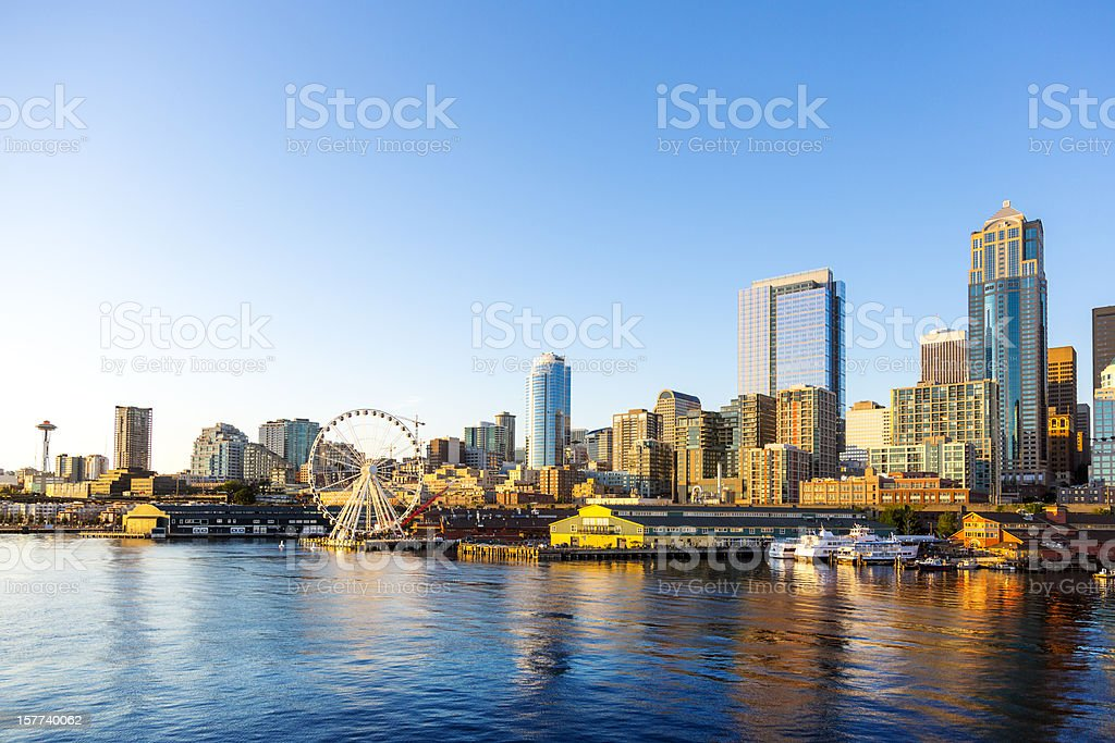 Seattle Downtown Waterfront with Space Needle and Great wheel stock photo