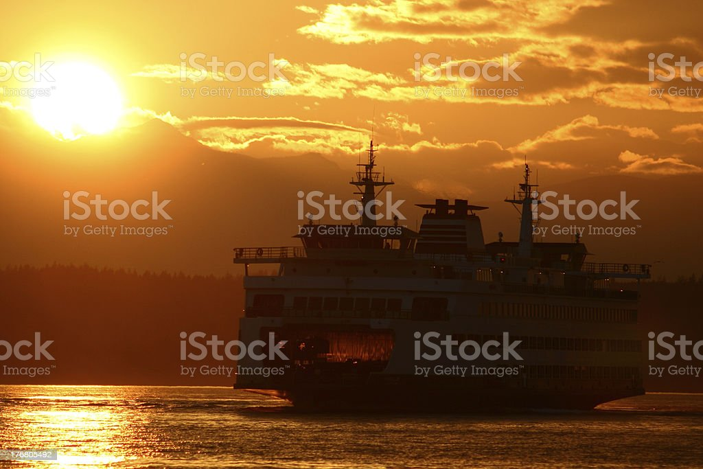 Seattle Ferry at Sunset stock photo