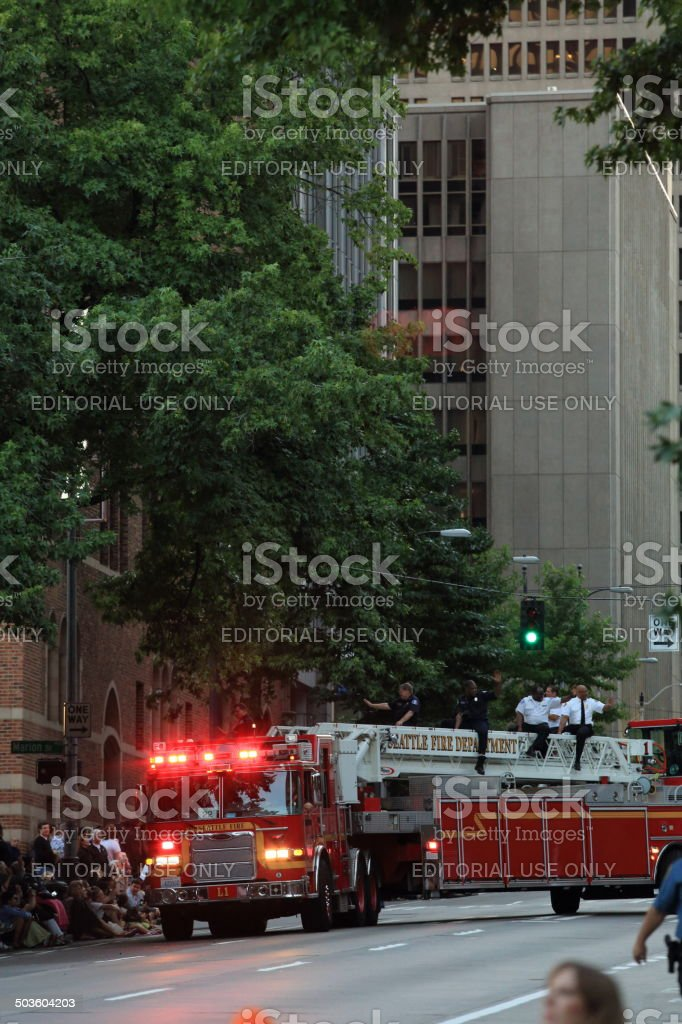 Seattle Fire Deparment at Torchlight Parade stock photo