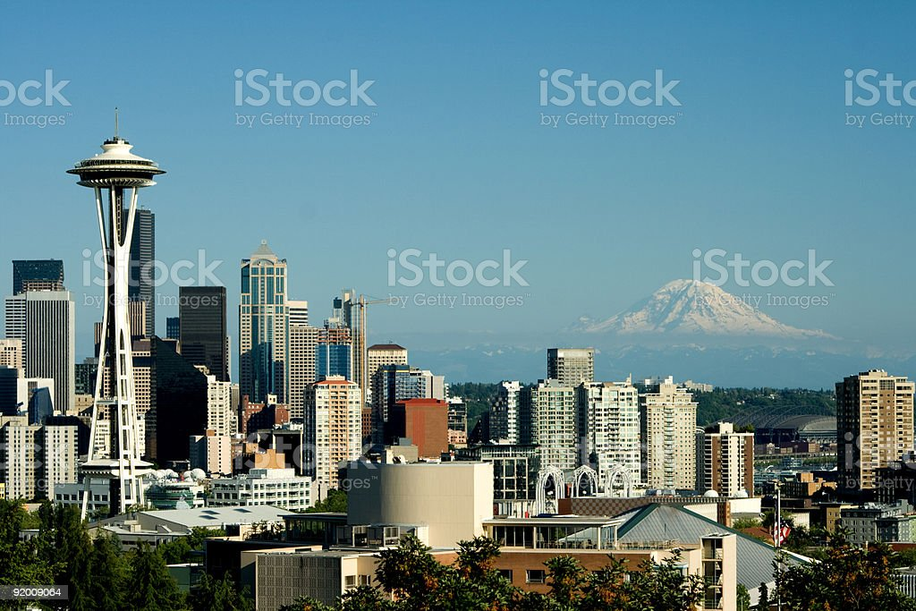 Seattle from Queen Anne with Space Needle and Mt. Rainier royalty-free stock photo