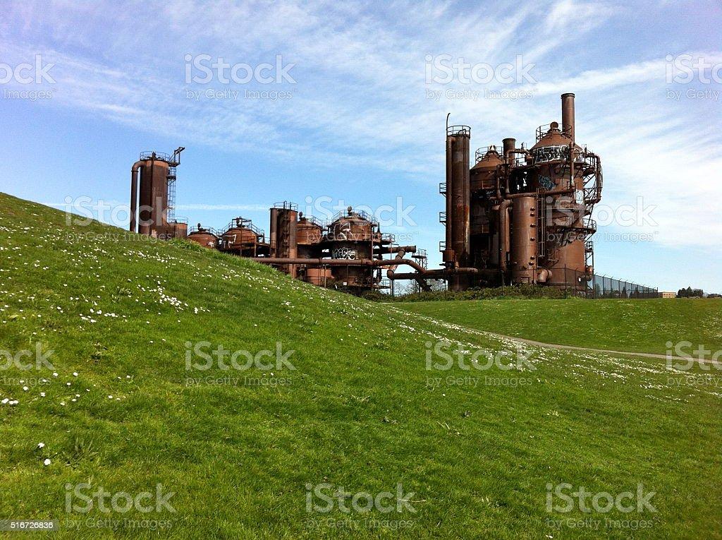 Seattle Gasworks Industrial Park stock photo