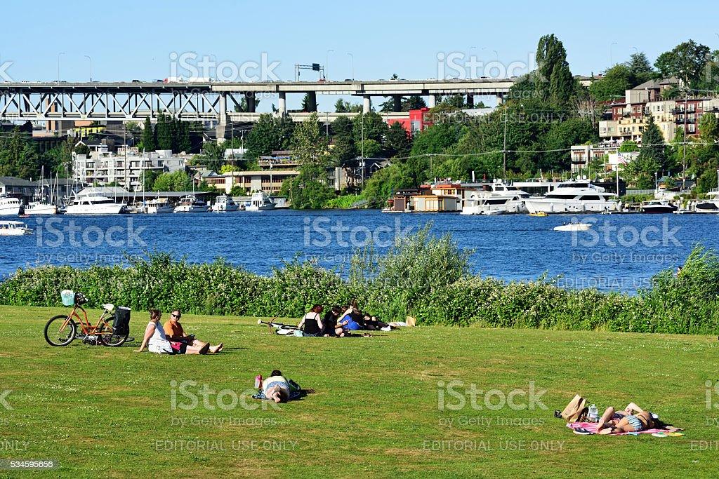 Seattle Gasworks Park stock photo