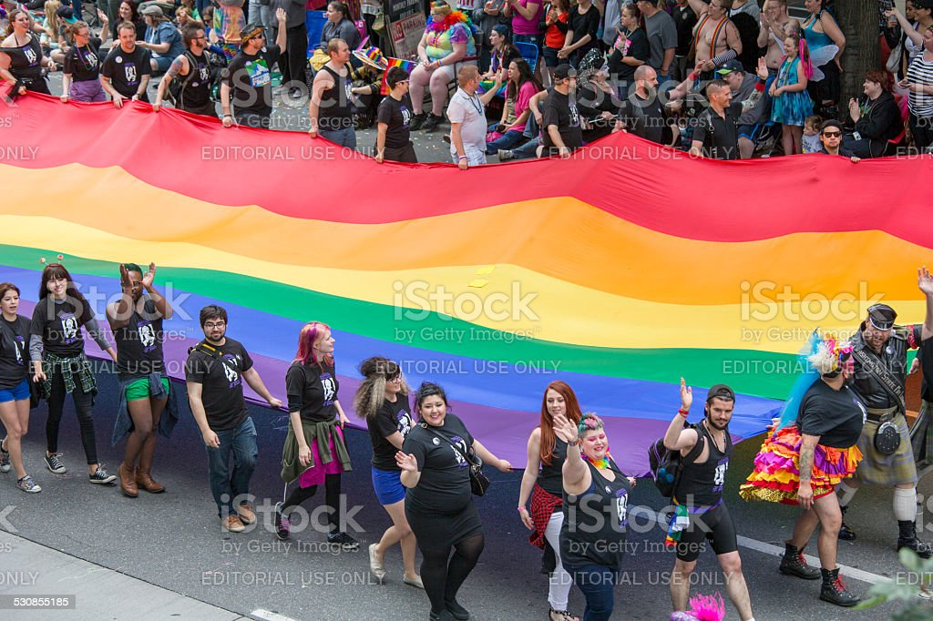 Seattle Gay Pride Festival 40th Anniversary Celebration and Flag stock photo