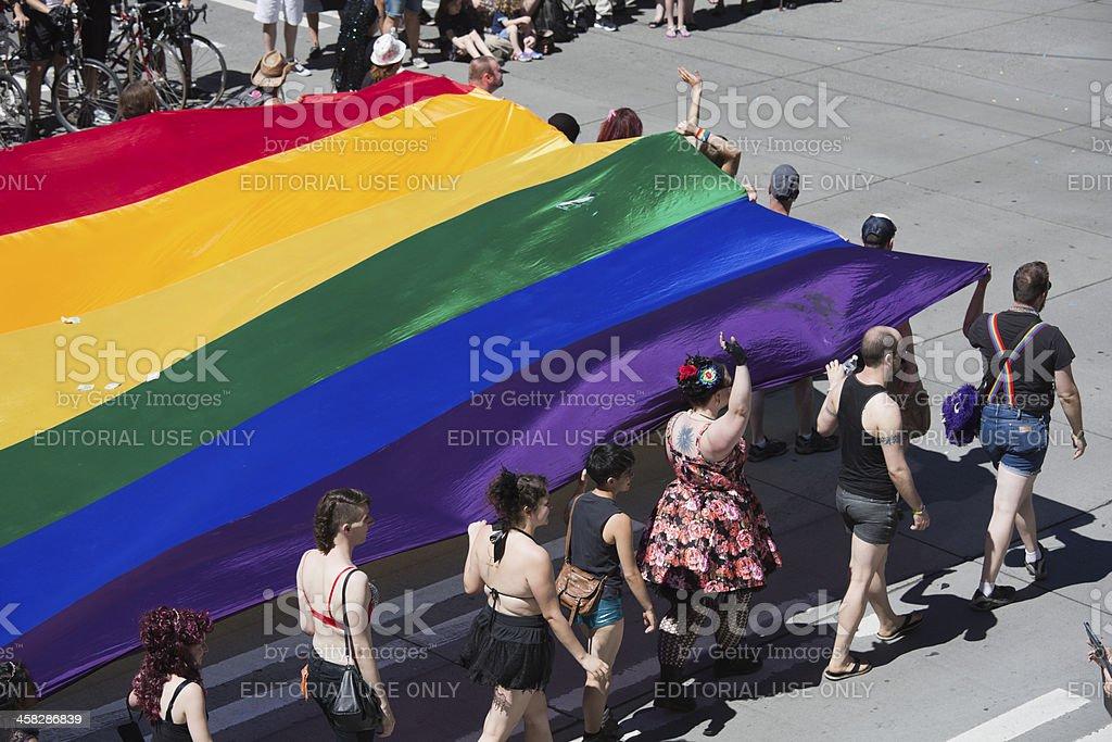 Seattle Gay Pride Parade Rainbow Flag Fundraiser stock photo