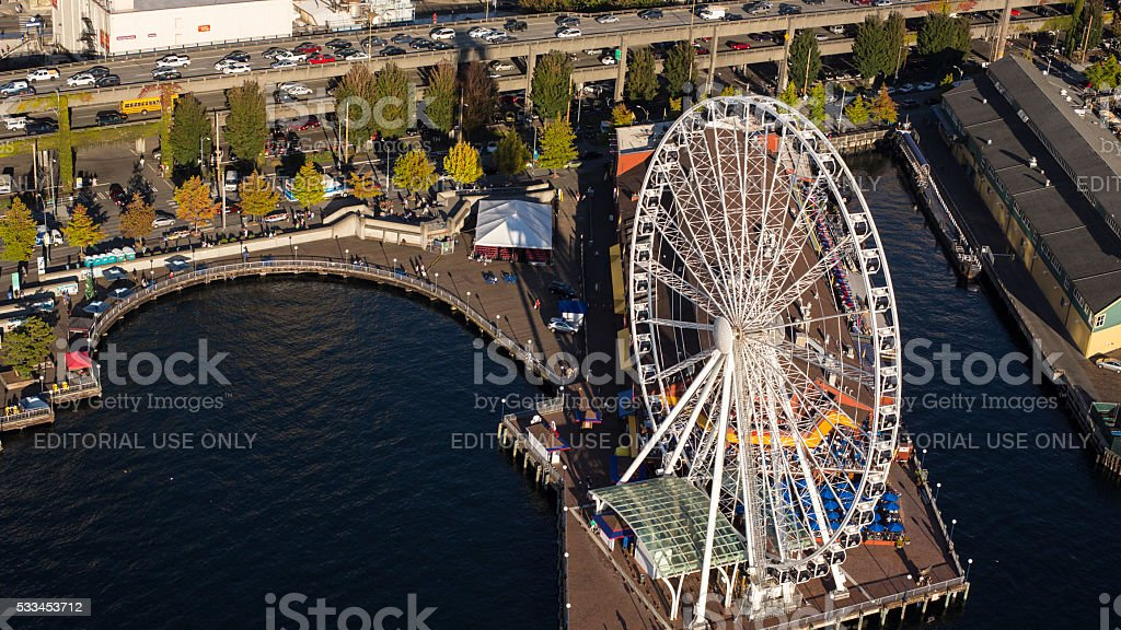 Seattle Great Wheel Aerial View stock photo