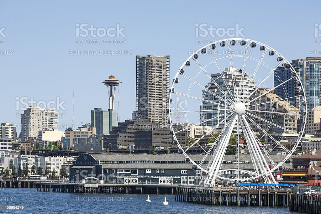 Seattle Great Wheel and Space needle stock photo
