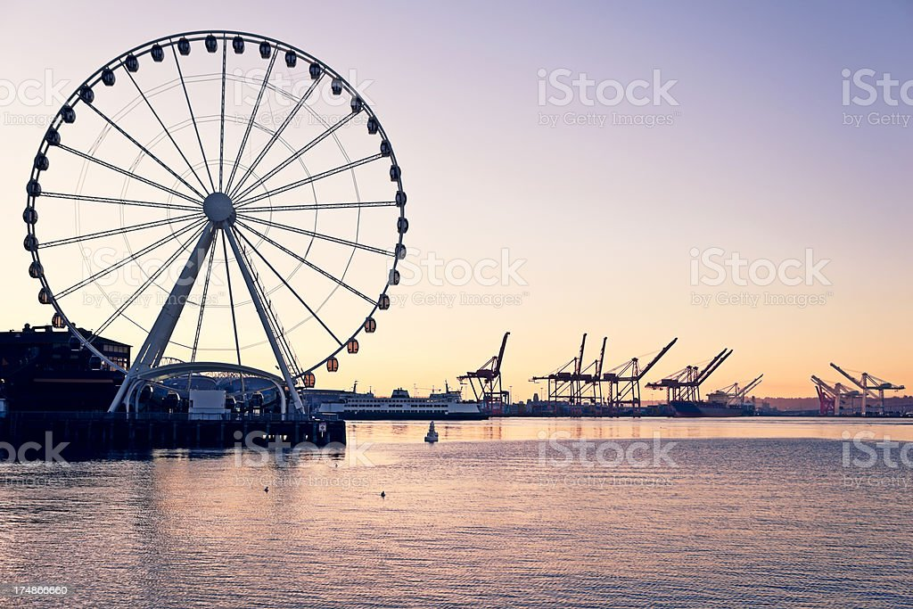 Seattle Great Wheel and Waterfront stock photo