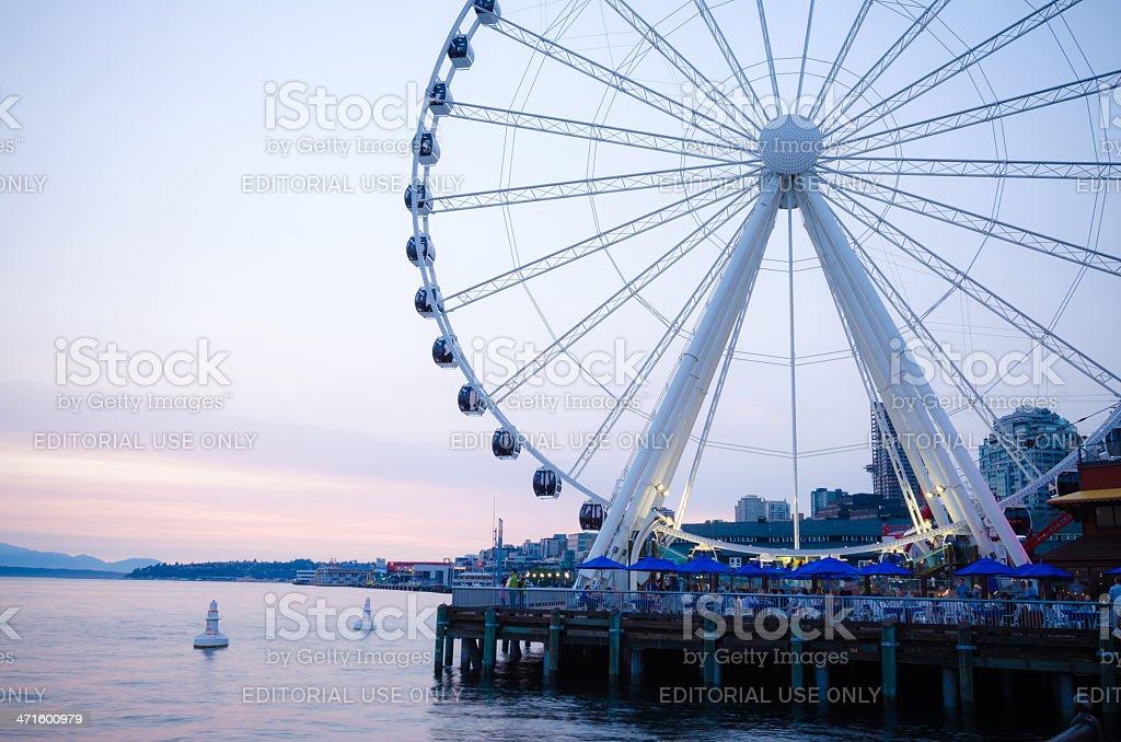Seattle Great Wheel at night stock photo