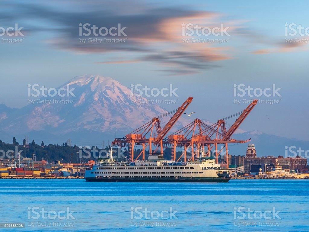 Seattle harbor stock photo