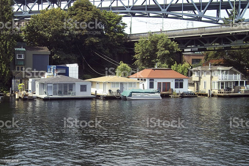 Seattle House Boats royalty-free stock photo
