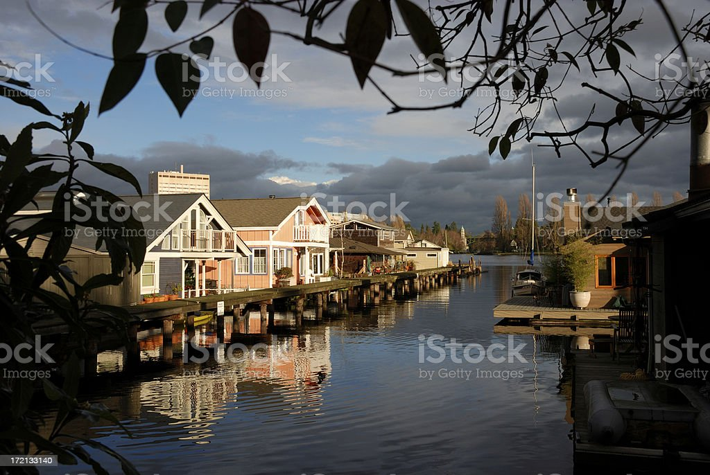 Seattle Houseboats on Portage Bay royalty-free stock photo