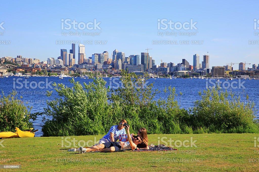 Seattle in June stock photo