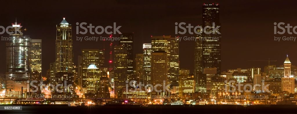 Seattle in the night. royalty-free stock photo