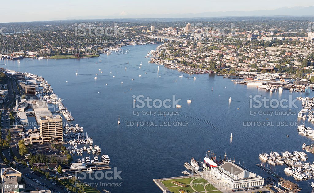 Seattle, Lake Union, Aerial View Looking North Towards Gasworks stock photo