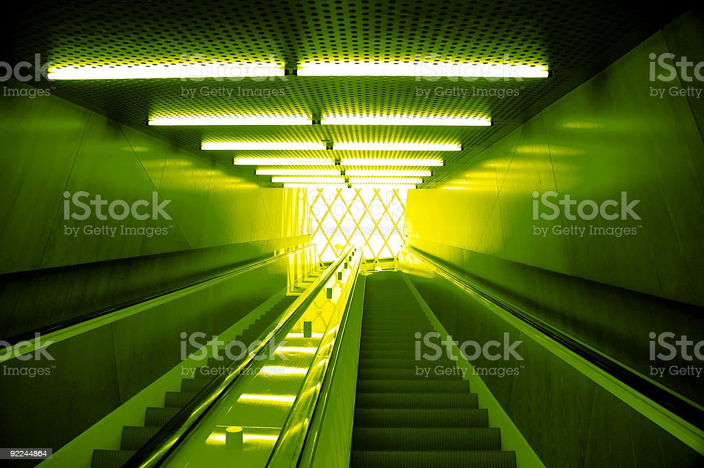 Seattle Library - Green Escalator stock photo