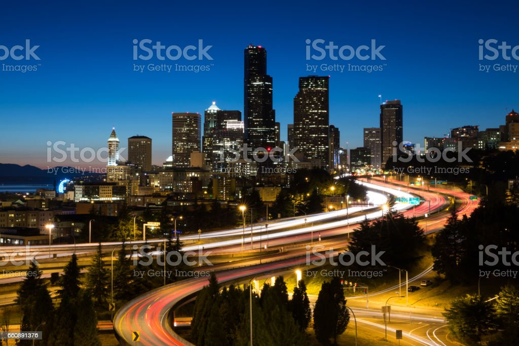 Seattle lights after dark stock photo