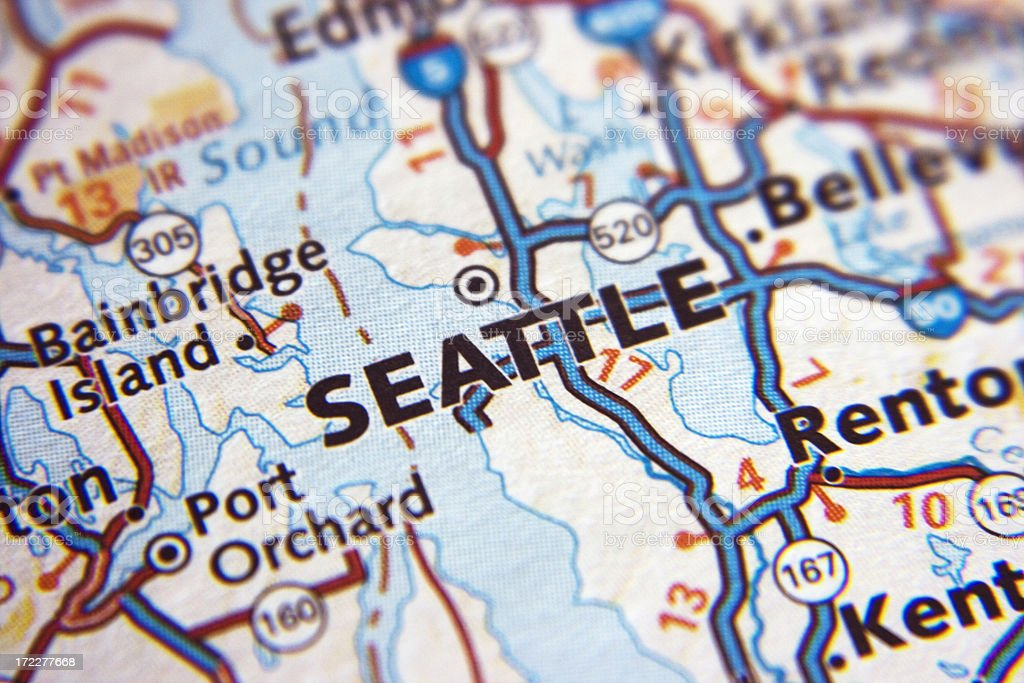 Seattle map closeup royalty-free stock photo