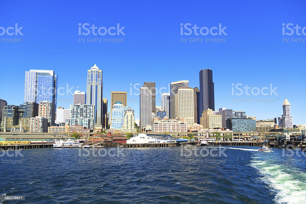 Seattle marina stock photo
