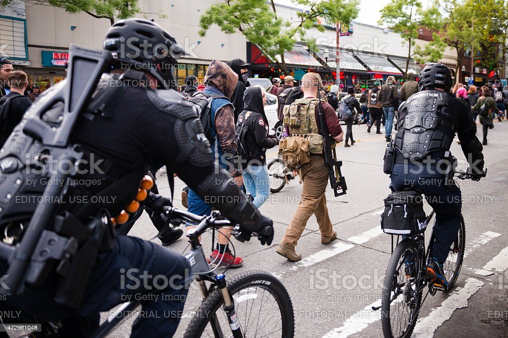 Seattle May Day stock photo