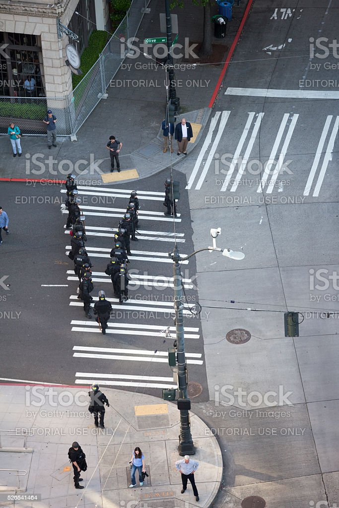 Seattle May Day Protests with Police and Rioters, 2016 stock photo