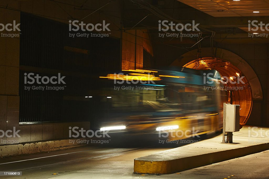 Seattle Metro Bus Emerging From Tunnel stock photo