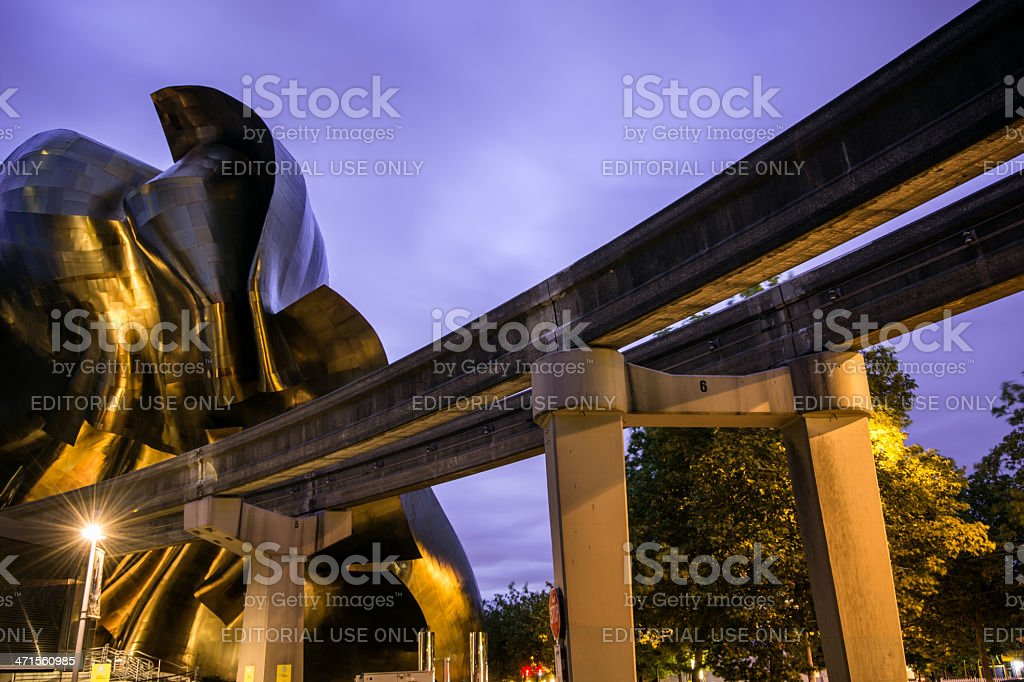 Seattle Monorail and Experience Music Project royalty-free stock photo