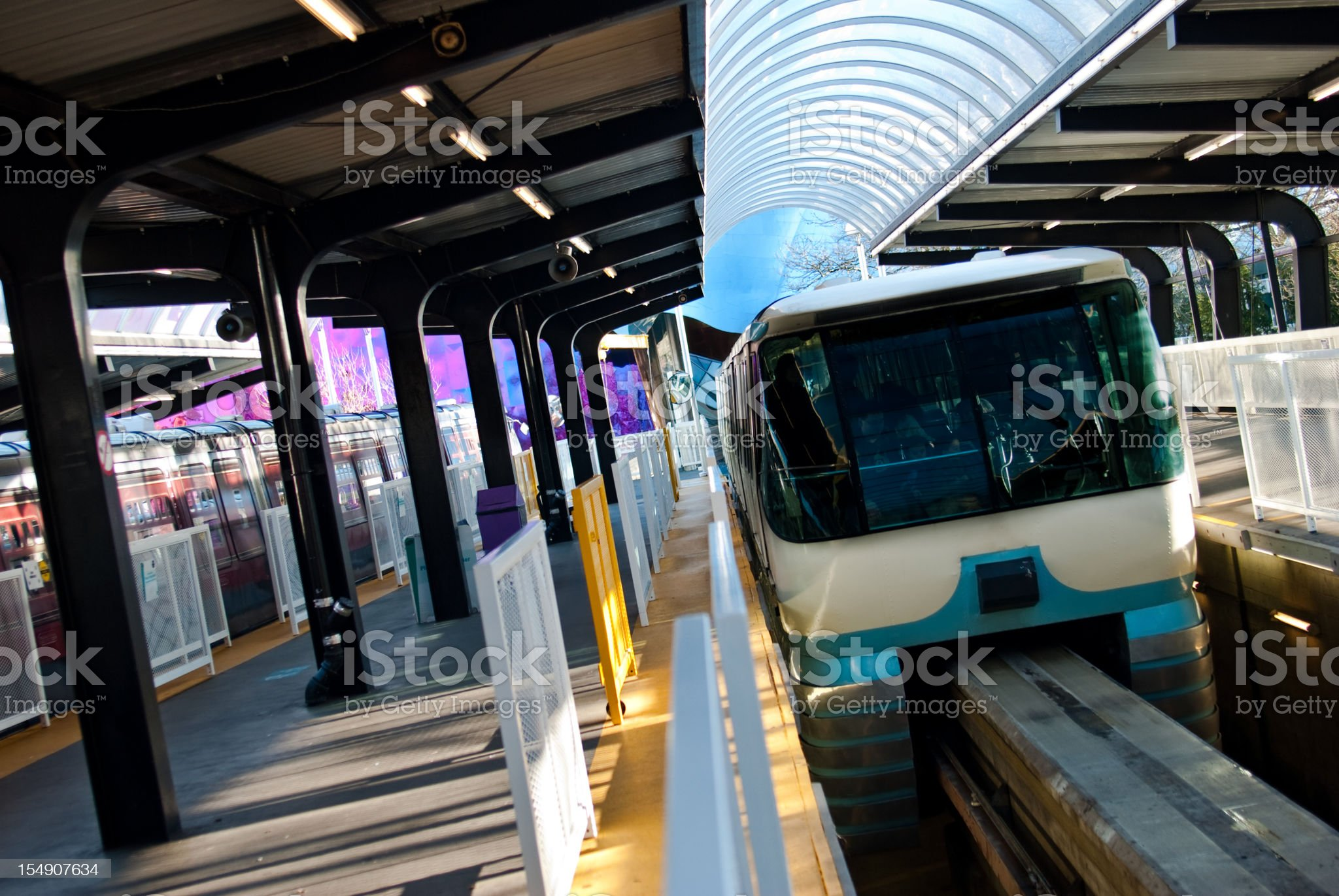 Seattle Monorail pulling into station royalty-free stock photo